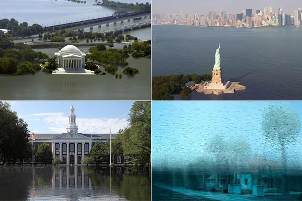 Города США после наводнения: фотоколлажи.