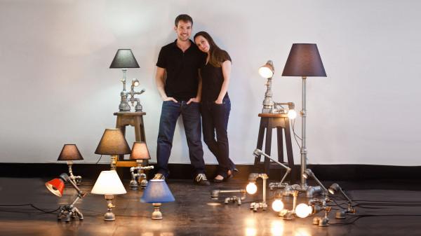 David Benatan со своей супругой и их работы.