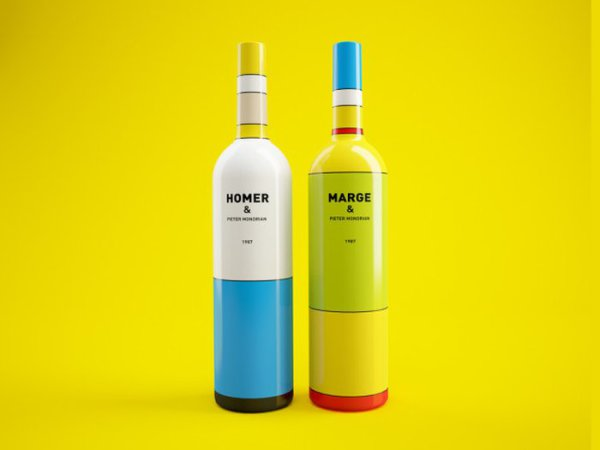 Абстрактные Симпсоны на бутылках вина.