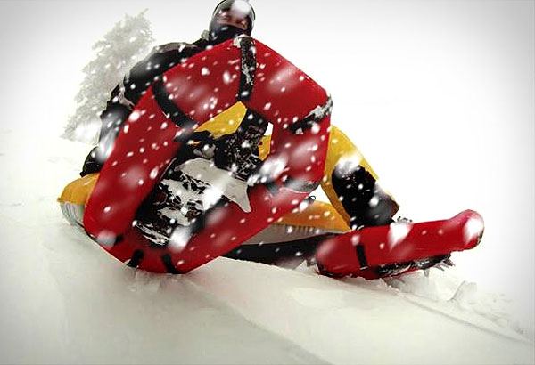 Надувные снегоступы снабжены «кошками».