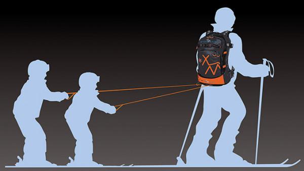 Рюкзак Snowmule с буксиром для двух детей.
