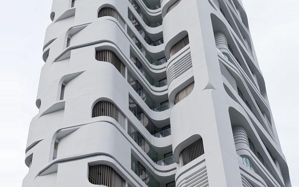 Фасадный узор с изогнутыми, тяготеющими к природным, линиями.