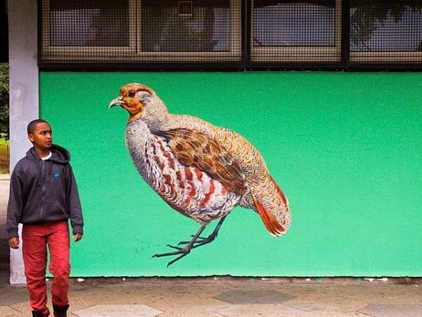 Куропатка. Стрит-арт на улицах Лондона.