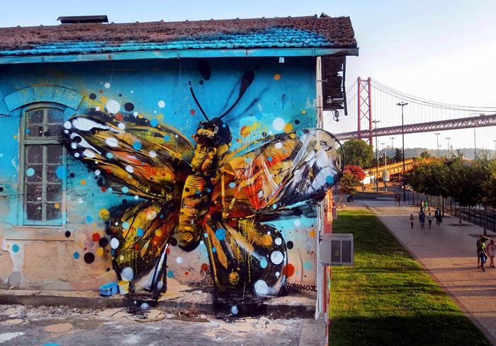 Bordaleta - удивительная бабочка на стене одного из домов Лиссабона.