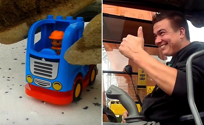 20-тонный экскаватор собирает конструктор Lego.