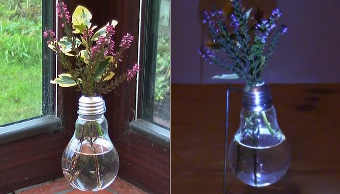 Необычная ваза из лампочки.