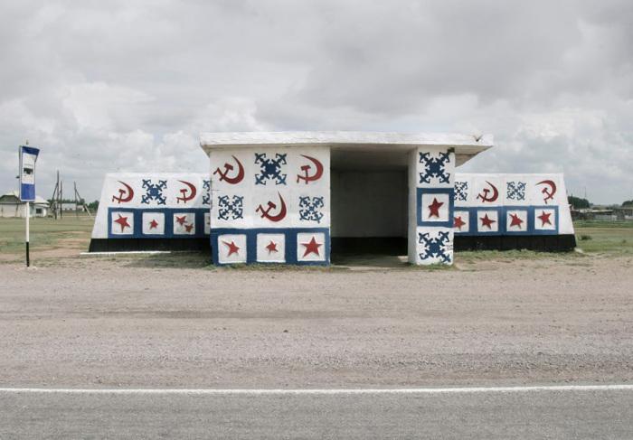 Автобусные остановки времен СССР.