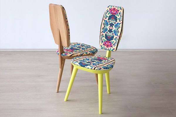 Коллекция стульев бренда Photoliu с этническими принтами.