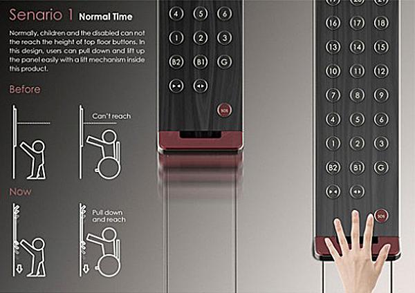 Приказная панель лифта прикреплена к направляющей рейке.