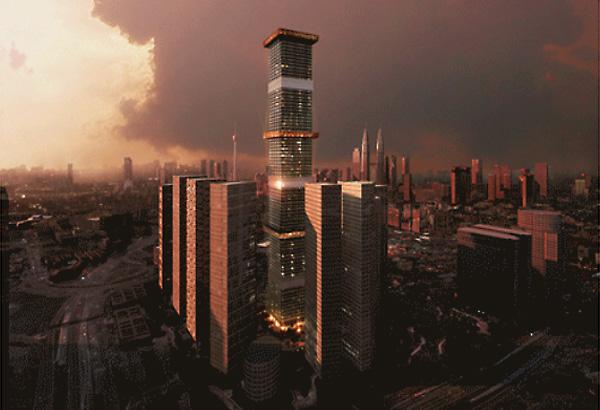 В пасмурные дни и вечером, когда завеса убрана, небоскреб будет виден во всем своем изяществе.
