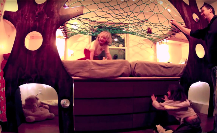 Как один любящий отец соорудил для своих деток настоящий аттракцион вместо кровати.
