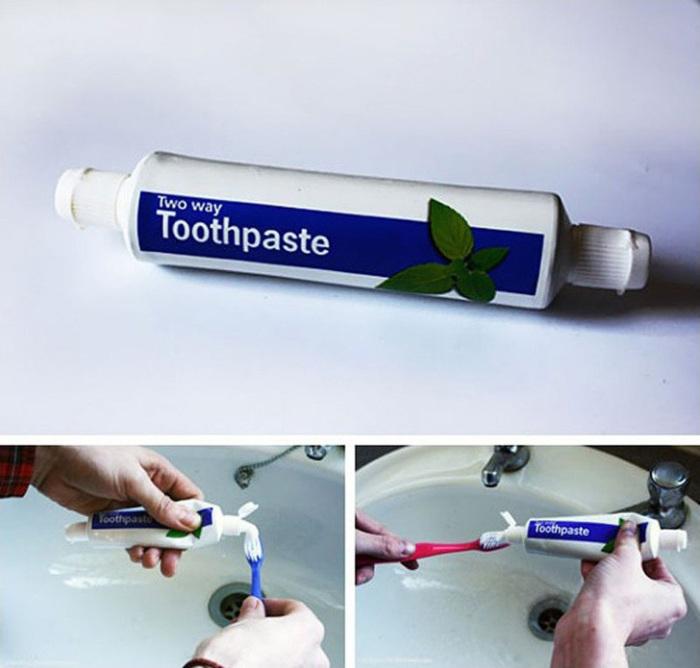 Двусторонний тюбик с зубной пастой.