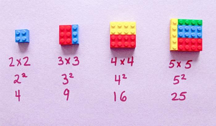 Как объяснить математику на кубиках Lego. Возведение в квадрат.