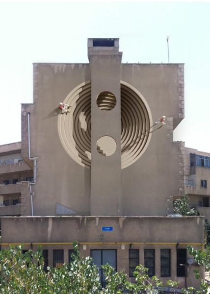 Сюрреалистические крупномасштабные работы на фасадах Тегерана.