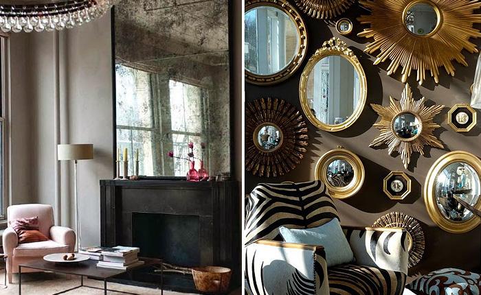 Оформление интерьера зеркалами.