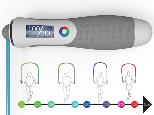 Мотивирующая скакалка, которая меняет цвет в зависимости от количества прыжков.