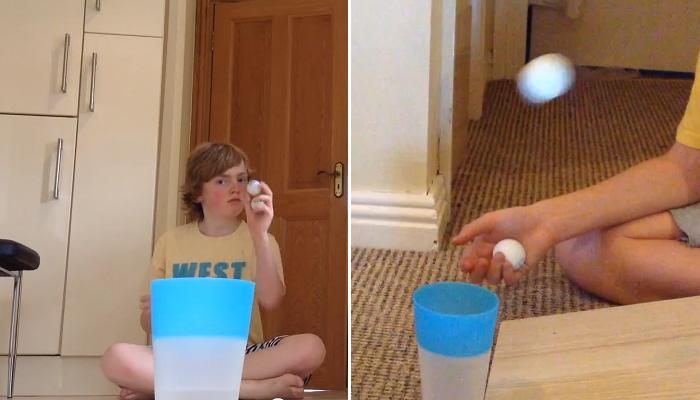 Трюки с теннисными шариками.