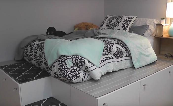 Как из икеевских модулей сделать крутую подиумную кровать.