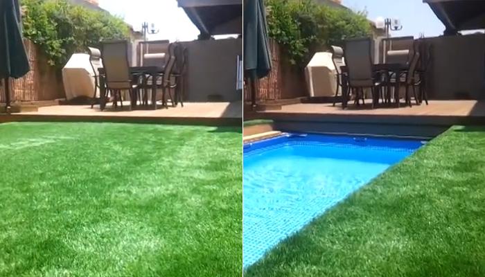 Интересное решение для небольших участков: бассейн и газон на одной площади.