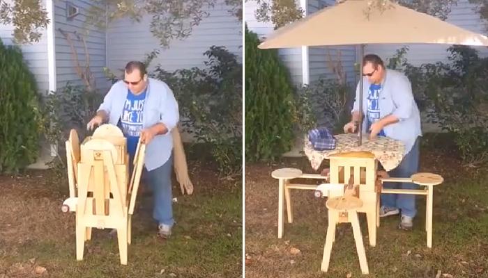 Портативный барный стол со стульями, или отличное решение для пикника.