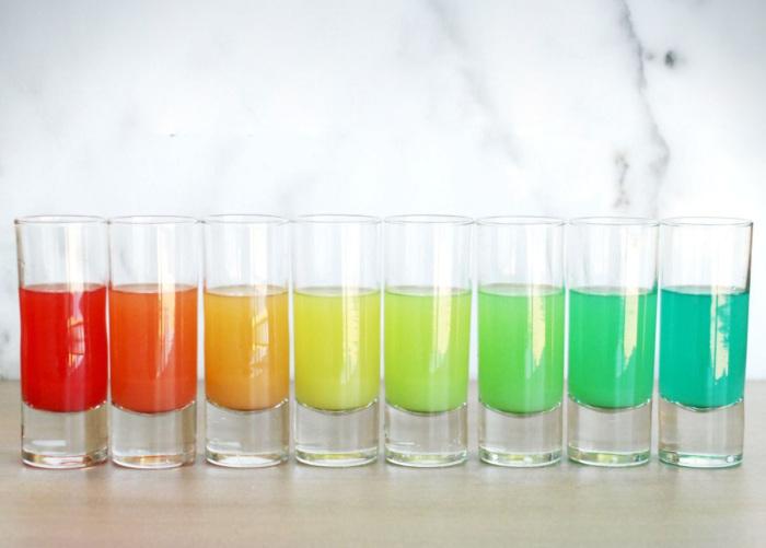 Разноцветные коктейли из одного шейкера.