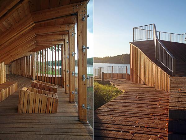 Нижний ярус деревянного строения и обзорная терраса.
