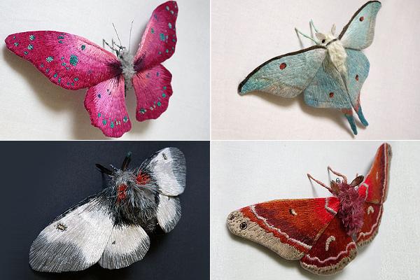Скульптурная вышивка насекомых.
