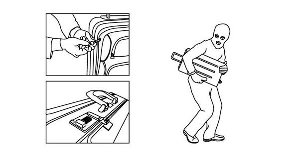 Запор на чемодане недостаточно защищает от краж.