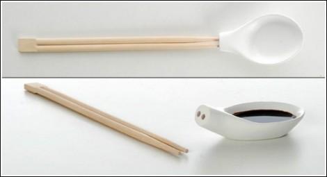 Палочки для пищи и ложка в одном приборе