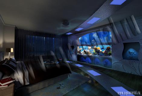 Проект интерьера с морским аквариумом на 2 тонны
