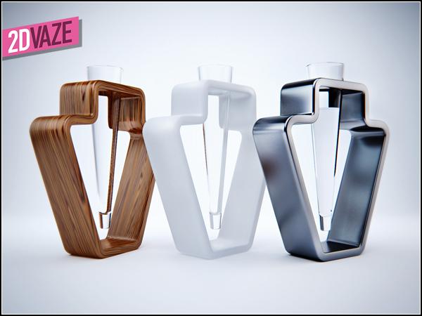 2d Vase в разных материалах.