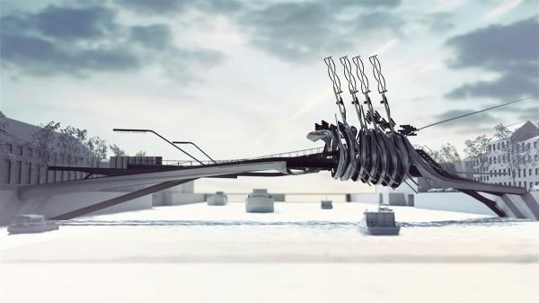 Amsterdam bridge V – футуристический проект моста от Yaohua Wang Architecture