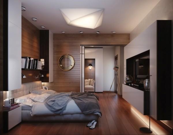 отделка стен в спальне деревом