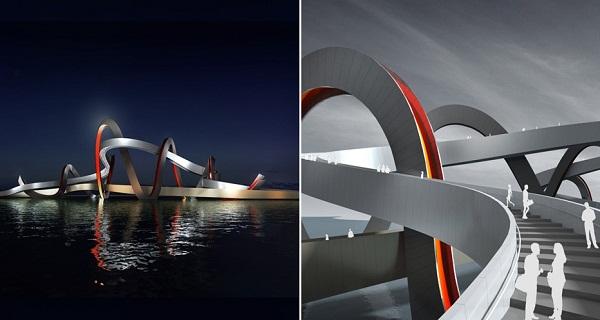 Проект прогулочного моста через озеро в Ханчжоу (Китай) от Denton Corker Marshall