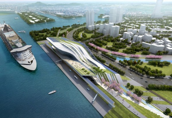 Проект эко-терминала Kaohsiung Port and Cruise Service Terminal от HMC Architects в Тайване