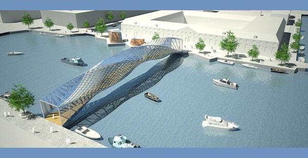 Helixxx Bridge – футуристический мост символизирующий элементы герба Амстердама