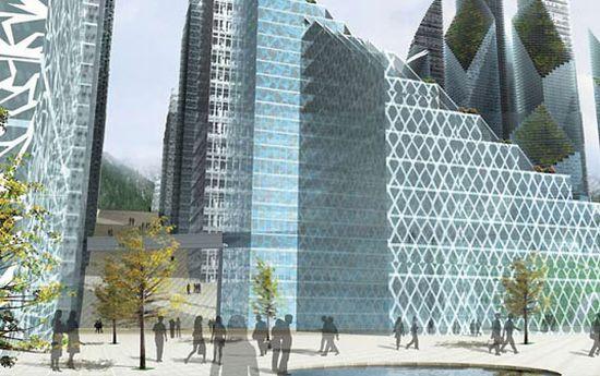 Эко-прект Magic Mountains. Уникальная архитектурная мимикрия для китайского мегаполиса