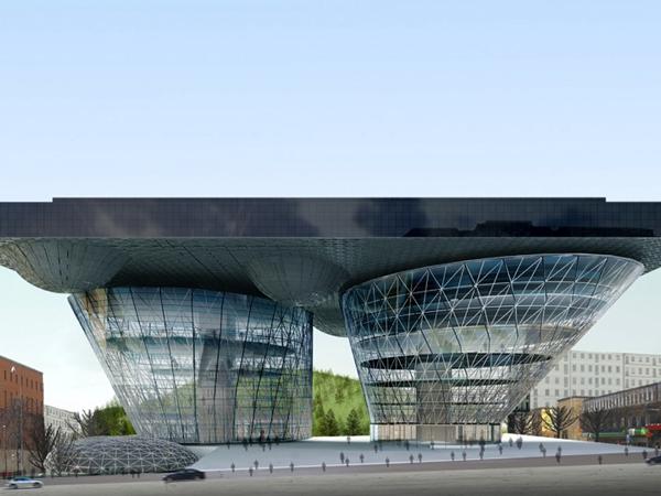 Проект футуристического здания библиотеки в Стокгольме от Budi Pradono Architects