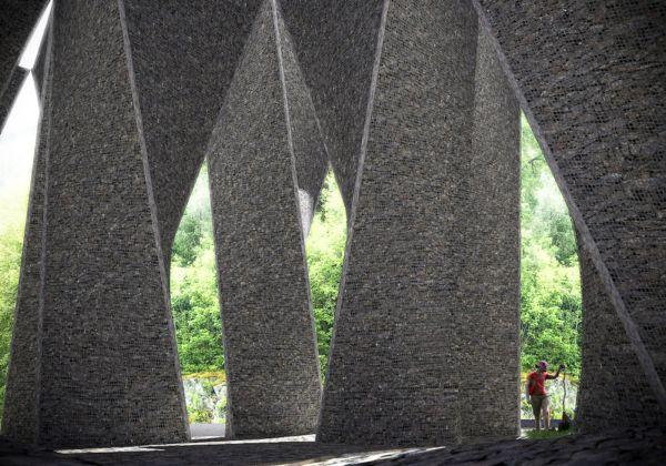 Туристическая остановка возле фьорда Хардангер в Норвегии от Huus og Heim Architecture
