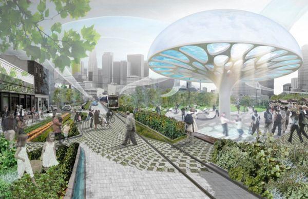 Эко-проект UMBRELLA. «Зонты-грибы» для солнечного Лос-Анджелеса