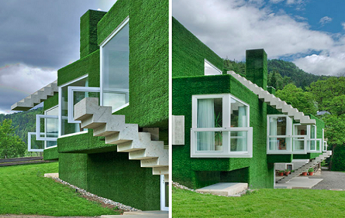 Жилой дом Astroturf Covered Concrete House от Weichlbauer und Ortis в Австрии