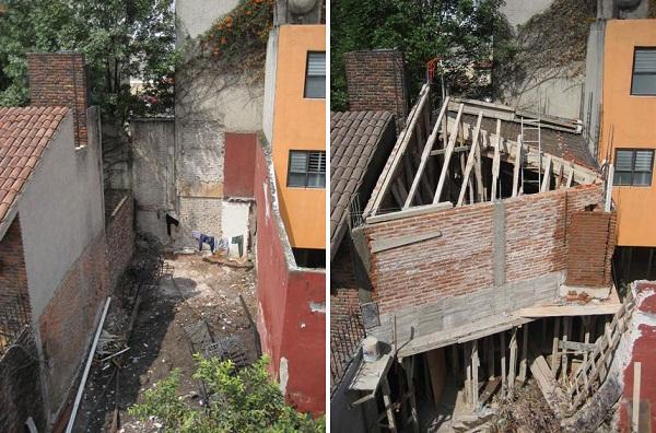 Ультра-современная мини-студия художника, интегрированная между старыми домами в Мехик (Мексика)