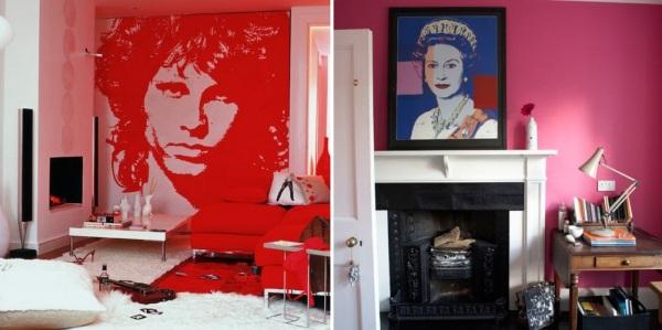 Декоративные изображения в стиле поп-арт в интерьере