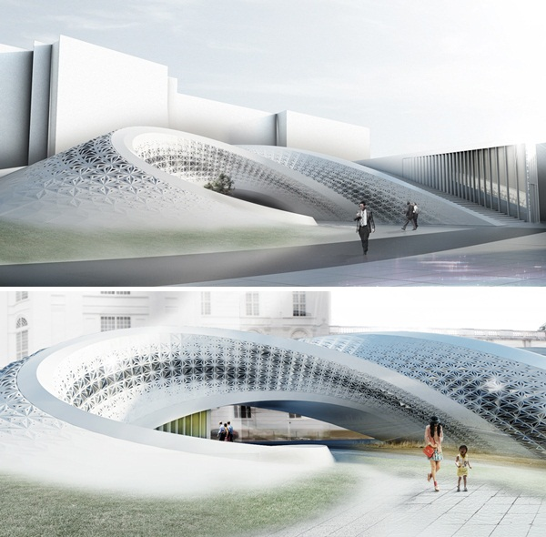 Проект расширения венской библиотеки National Library of Austria от Prechteck