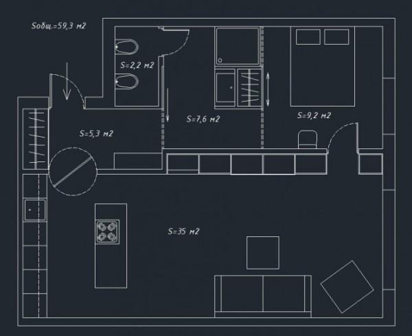 Интерьер малогабаритной квартиры от Олега Трофимова (Oleg Trofimov)