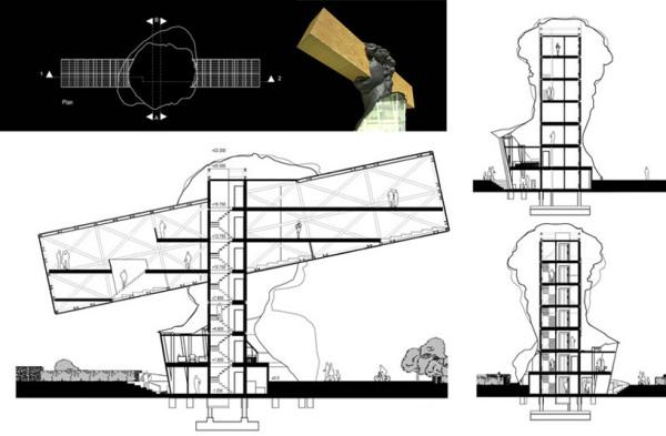 Проект музея Sosno art gallery building в Ницце (Приморские Альпаы, Франция)