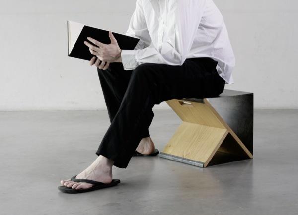 Steel Stool – портативный стул и элемент корпусной мебели от Noon Studio