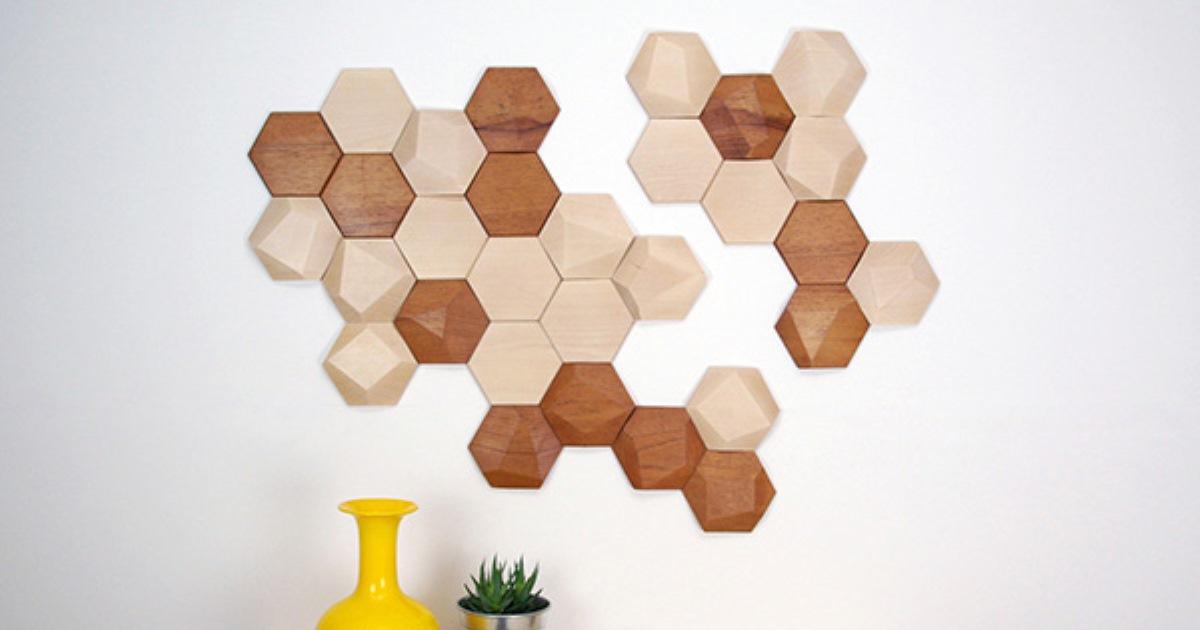 Необычная деревянная плитка в форме пчелиных сот