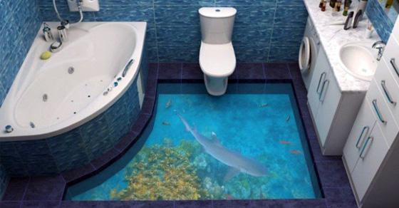 10 оригинальных примеров интерьера ванной комнаты с реалистичными 3D-рисунками на полу