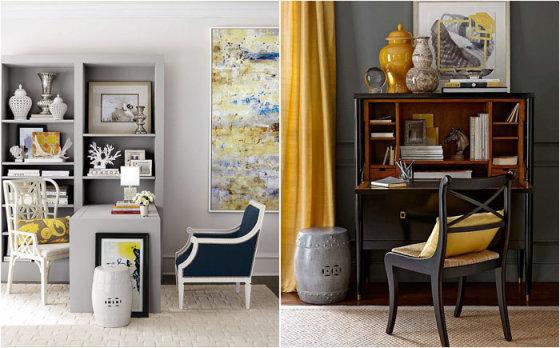 Жёлтый цвет в интерьере: как оживить интерьер домашнего офиса